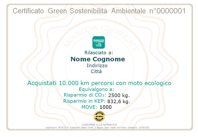 Certificato Green da 10000km