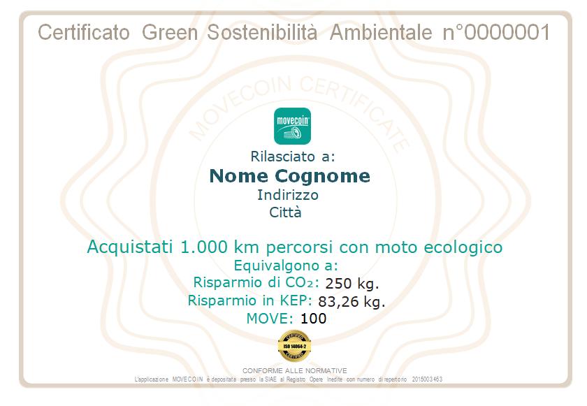 Certificato Green da 1000km