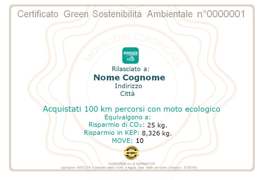 Certificato Green da 100km