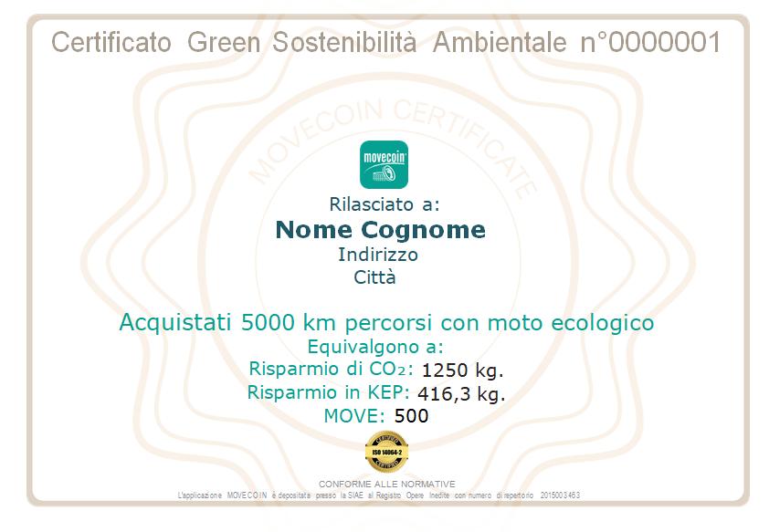 Certificato Green da 5000km