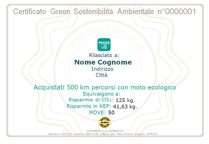 Certificato Green da 500km