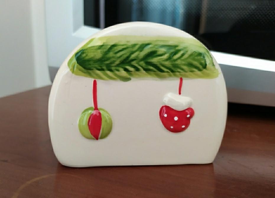 Portatovaglioli natalizio in ceramica - 3 -