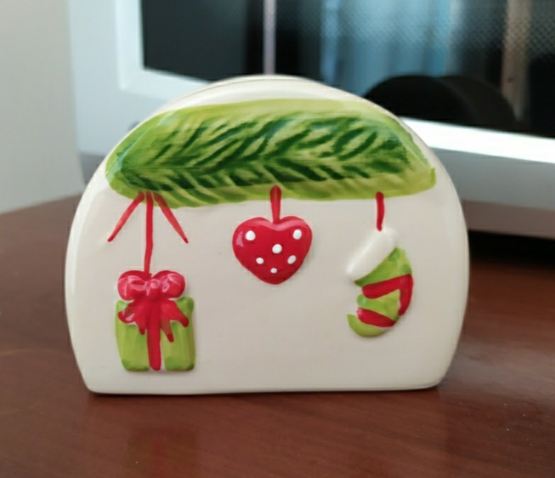 Portatovaglioli natalizio in ceramica - 1 -